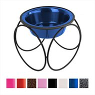 Platinum Pets Olympic Single Elevated Wide Rimmed Pet Bowl, Sapphire Blue, Small