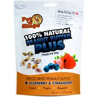 Pet 'n Shape Peanut Butter PLUS Blueberries & Strawberries Freeze-Dried Dog Treats, 2-oz bag, 1 pack