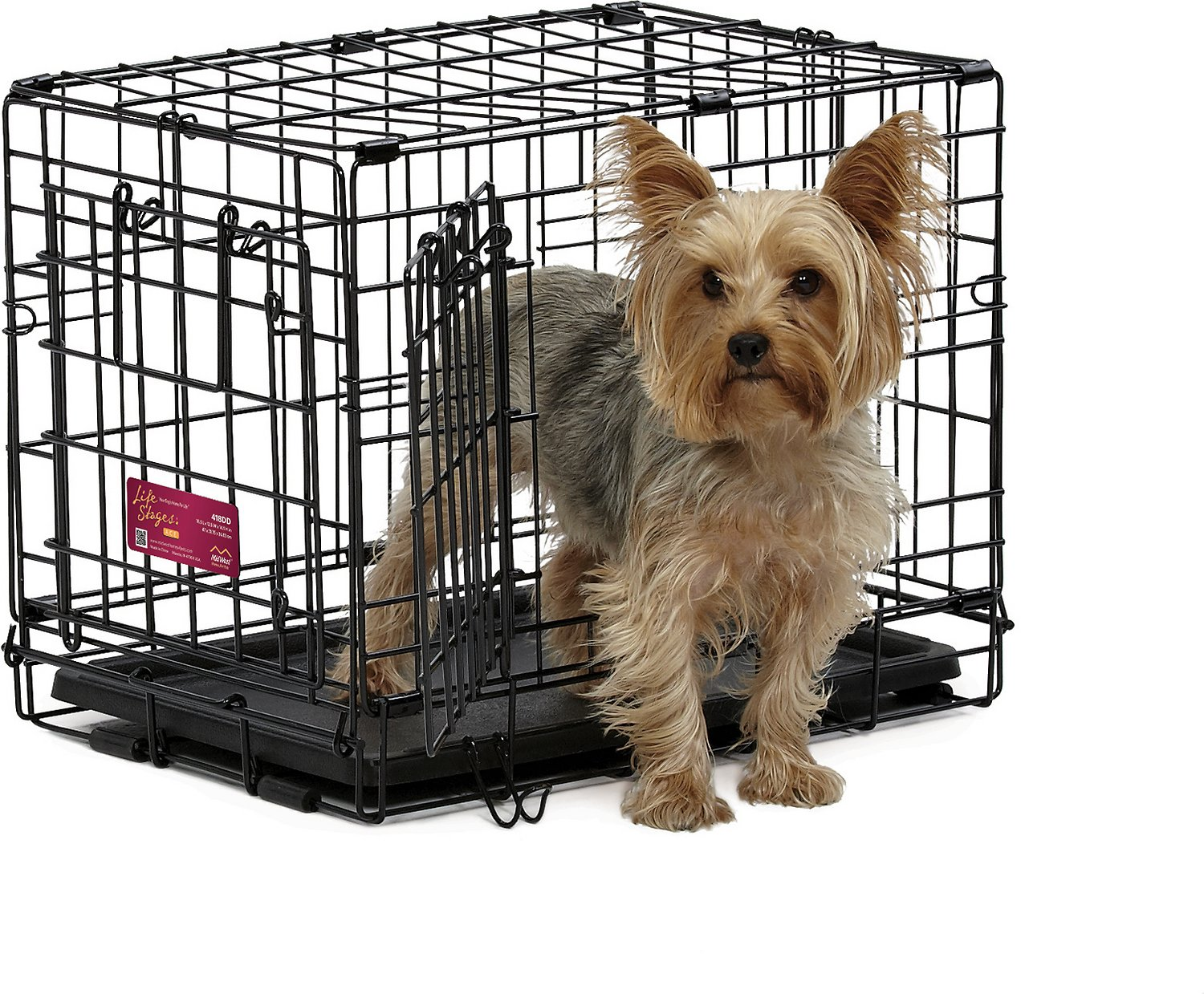 Midwest life stages a c e double door dog crate 18 inch for Double door with dog door