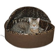 K&H Pet Products Thermo-Kitty Deluxe Hooded Cat Bed, Mocha, Small