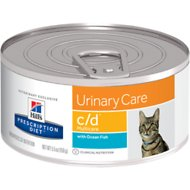 Hill's Prescription Diet c/d Multicare Urinary Care with Ocean Fish Canned Cat Food, 5.5-oz, case of 24