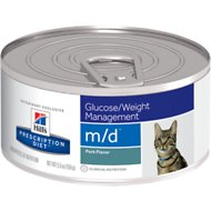 Hill's Prescription Diet m/d Glucose/Weight Management Pork Flavor Canned Cat Food, 5.5-oz, case of 24