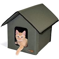 K&H Pet Products Outdoor Unheated Kitty House, Olive