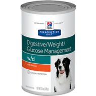 Hill's Prescription Diet w/d Digestive/Weight/Glucose Management with Chicken Canned Dog Food, 13-oz, case of 12