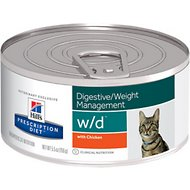 Hill's Prescription Diet w/d Multi-Benefit Digestive/Weight/Glucose/Urinary Management with Chicken Canned Cat Food, 5.5-oz, case of 24