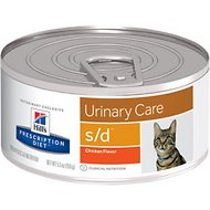 Hill's Prescription Diet s/d Urinary Care Chicken Flavor Canned Cat Food, 5.5-oz, case of 24