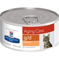Hill's Prescription Diet g/d Aging Care with Turkey Canned Cat Food, 5.5-oz, case of 24