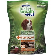TropiClean Fresh Breath + Plus Skin & Coat Dental Dog Treats, Small, 20 count