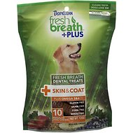 TropiClean Fresh Breath + Plus Skin & Coat Dental Dog Treats, Regular, 10 count