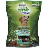 TropiClean Fresh Breath + Plus Advanced Cleaning System Dental Dog Treats, Regular, 10 count