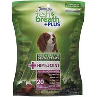 TropiClean Fresh Breath + Plus Hip & Joint Dental Dog Treats, Small, 20 count