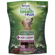 TropiClean Fresh Breath + Plus Hip & Joint Dental Dog Treats, Regular, 10 count