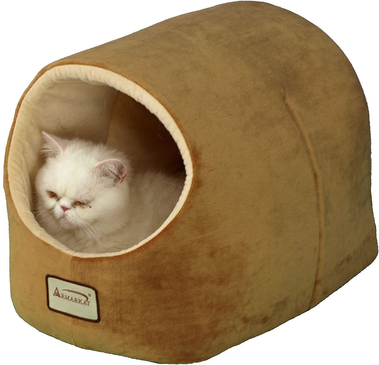 Armarkat Pet Bed Cave Shape Brown Ivory Chewy Com