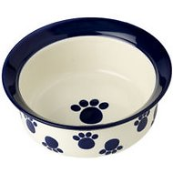 PetRageous Designs Paws n' Around Deep Pet Bowl, Cobalt, 4 cup