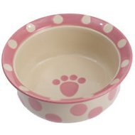 PetRageous Designs Polka Paws Deep Pet Bowl, Pink, 2-cups