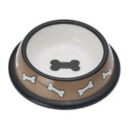 PetRageous Designs Scattered Bones Pet Bowl, Pecan
