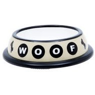 PetRageous Designs Urban Dog Woof Plastic Pet Bowl, 2-cup