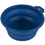 Petmate Silicone Round Collapsible Travel Pet Bowl, Navy Blue, Large