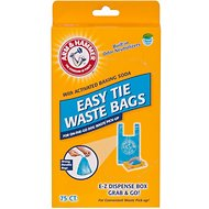 Arm & Hammer Disposable Handle Easy Tie Waste Bags, Blue, 75-count