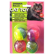 Ethical Pet Shimmer Balls Cat Toy, 4-pack