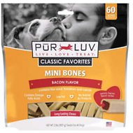 Pur Luv Bones Bacon Dog Treats, Mini, 60 count