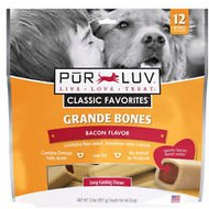 Pur Luv Bones Bacon Dog Treats, Big, 12 count