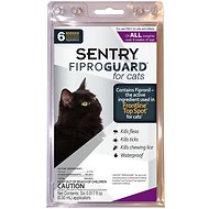 Sentry FiproGuard Flea & Tick Squeeze-On for Cats of All Weights, 6 treatments