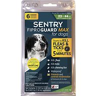 Sentry FiproGuard Max Flea & Tick Squeeze-On for Dogs (23-44 lbs), 6 treatments