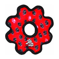 Tuffy's Junior Gear Ring Dog Toy, Red Paws