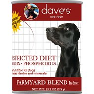 Dave's Pet Food Restricted Diet Protein & Phosphorus Farmyard Blend in Sauce Grain-Free Canned Dog Food, 13.2-oz, case of 12