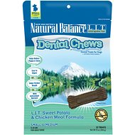 Natural Balance L.I.T. Dental Chews Sweet Potato & Chicken Meal Formula Dog Treats, Small/Medium