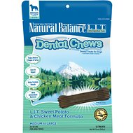 Natural Balance L.I.T. Dental Chews Sweet Potato & Chicken Meal Formula Dog Treats, Medium/Large