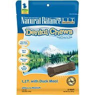 Natural Balance L.I.T. Dental Chews Duck Meal Formula Dog Treats, Small/Medium