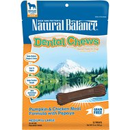 Natural Balance Dental Chews Pumpkin & Chicken Meal Formula with Papaya Dog Treats, Medium/Large