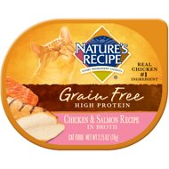 Nature's Recipe Grain-Free Chicken & Salmon Recipe in Broth Wet Cat Food, 2.75-oz, case of 24