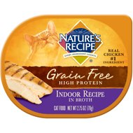 Nature's Recipe Grain-Free Indoor Chicken Recipe in Broth Wet Cat Food, 2.75-oz, case of 24