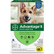 Advantage II Flea Treatment for Dogs, over 55 lbs, 6 treatments