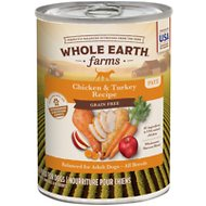 Whole Earth Farms Grain-Free Chicken & Turkey Recipe Canned Dog Food, 12.7-oz, case of 12
