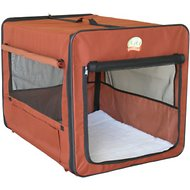GoPetClub Soft-Sided Dog Crate, Brown, 25-in