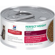 Hill's Science Diet Adult Perfect Weight Liver & Chicken Entree Canned Cat Food, 2.9-oz, case of 24