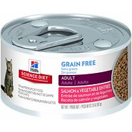 Hill's Science Diet Adult Grain-Free Salmon & Vegetable Entree Canned Cat Food, 2.9-oz, case of 24