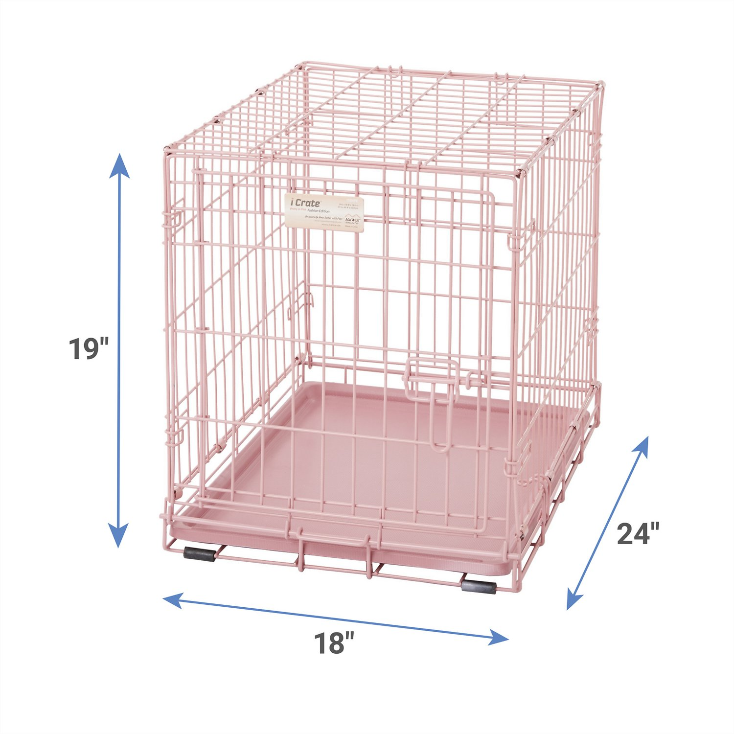 midwest icrate single door dog crate pink in  chewycom - midwest icrate single door dog crate pink