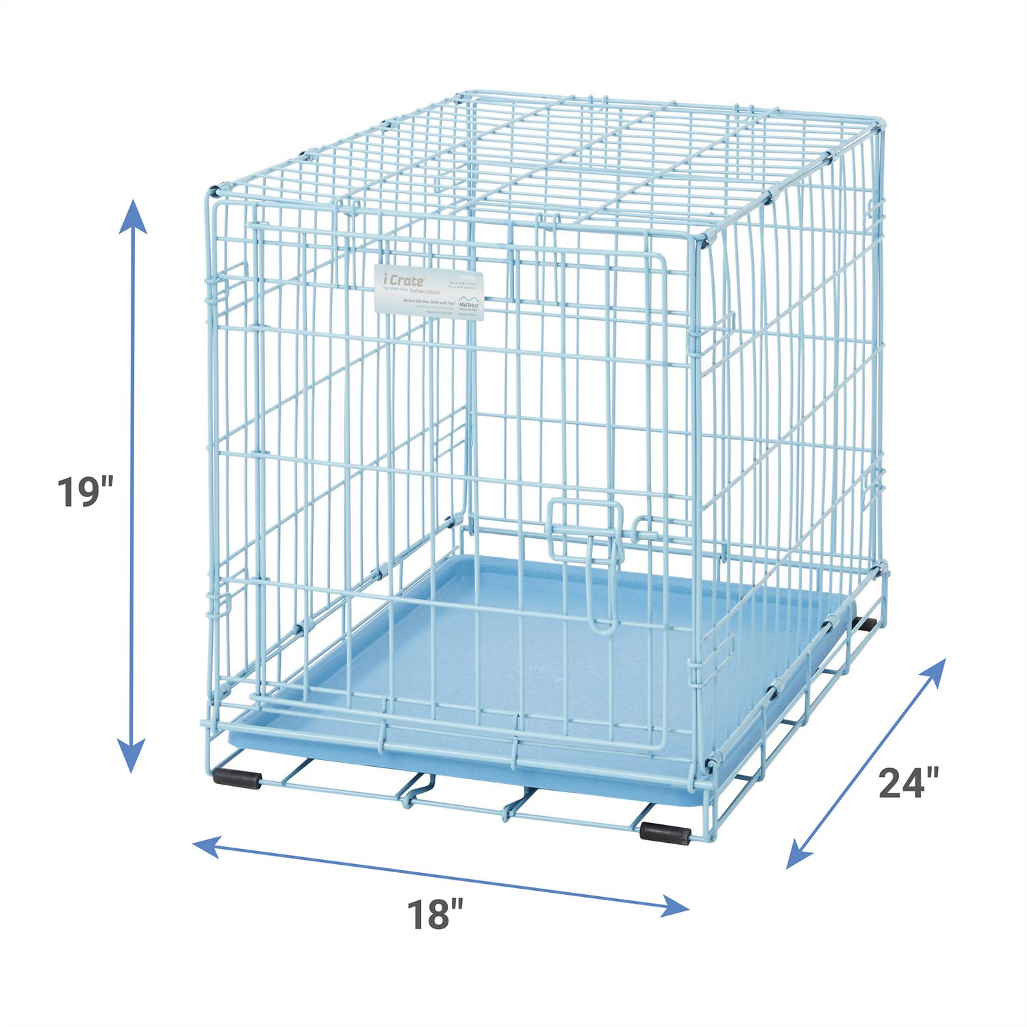 midwest icrate single door dog crate blue in  chewycom - midwest icrate single door dog crate blue