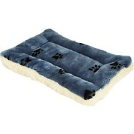 MidWest Quiet Time Fleece Reversible Pet Bed & Crate Mat, Blue Paw Print, 18-inch