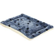 MidWest Quiet Time Fleece Reversible Pet Bed & Crate Mat, Blue Paw Print, 30-inch