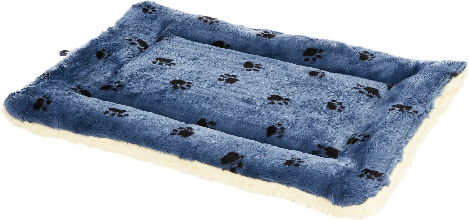 midwest quiet time fleece reversible pet bed & crate mat, blue paw