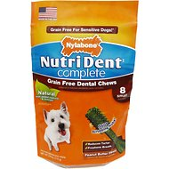Nylabone Nutri Dent Complete Grain-Free Peanut Butter Flavor Dental Dog Chews - Small, 8 count