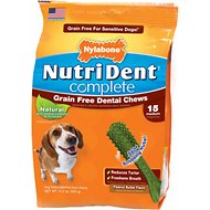 Nylabone Nutri Dent Complete Grain-Free Peanut Butter Flavor Dental Dog Chews - Medium, 15 count
