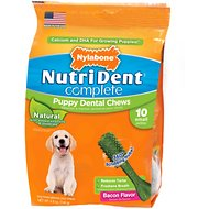 Nylabone Nutri Dent Complete Puppy Bacon Flavor Dental Dog Chews - Small, 10 count