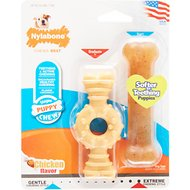 Nylabone Puppy Twin Pack Petite Ring/Bone Combo Puppy Chew Toy